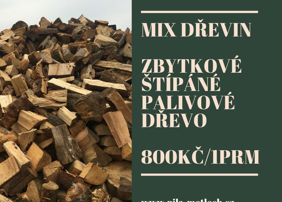 Mix dřeva – zbytkové štípáné palivové dřevo 800kč/1prm